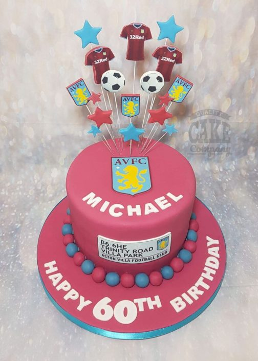 Aston Villa AVFC football star spray theme birthday cake - Tamworth Birmingham