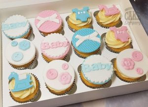 cute pink blue baby shower theme cupcakes - tamworth birmingham