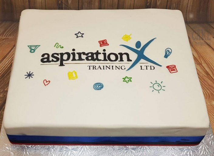 Aspiration training logo corporate cake - west midlands tamworth