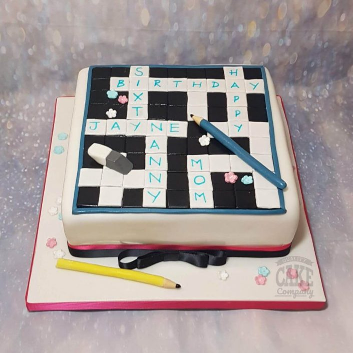 crossword puzzle cake - tamworth