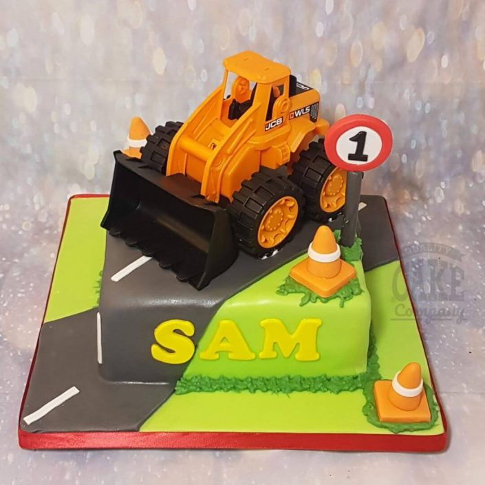 big digger on road children's birthday cake - Tamworth