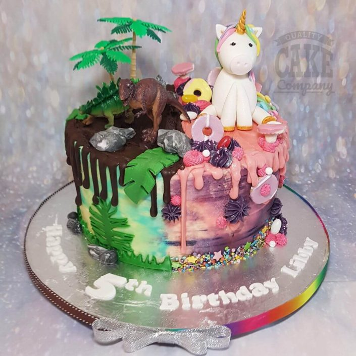 dinosaur and unicorn drip birthday cake - tamworth