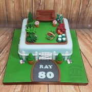 Garden theme cake with bench and vegetable patch - tamworth