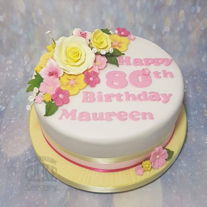yellow and pink floral rose theme birthday cake - tamworth