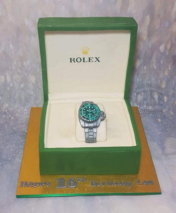rolex watch in box celebration cake - tamworth