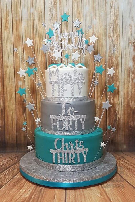 three tier mega teal silver white star burst cake - celebration cakes tamworth