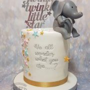 Cute elephant sitting on edge fishing for stars baby shower twinkle star theme cake - tamworth