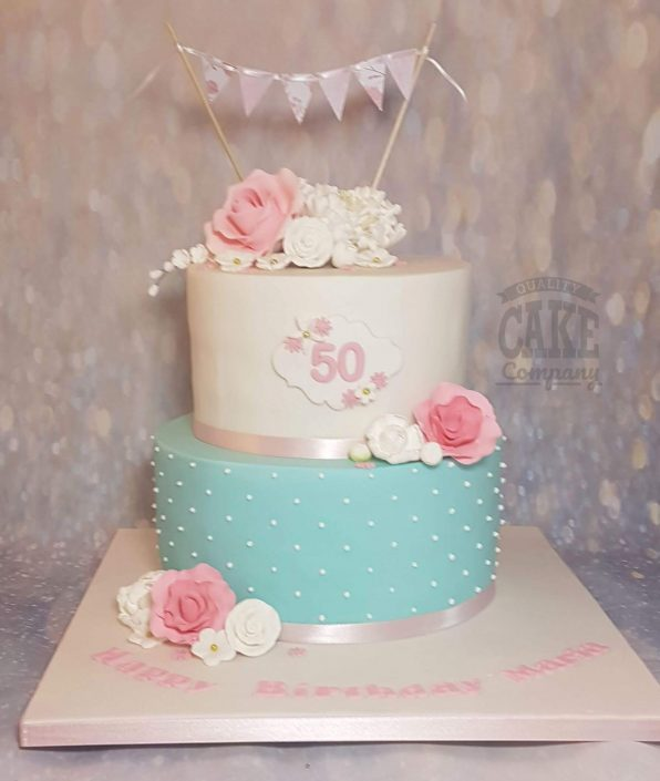 elegant floral pink blue two tier cake - tamworth