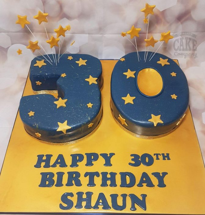 30th birthday number cake in royal blue with gold stars - tamworth