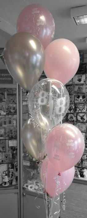 bunches of 7 latex balloons pink silver - tamworth
