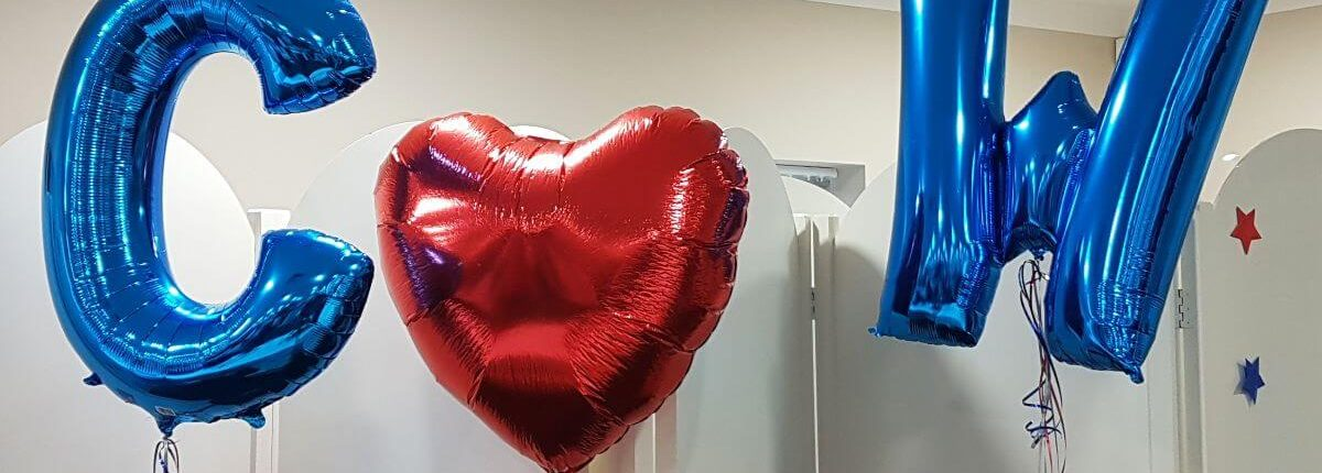 Wedding letter helium balloons and giant heart - tamworth