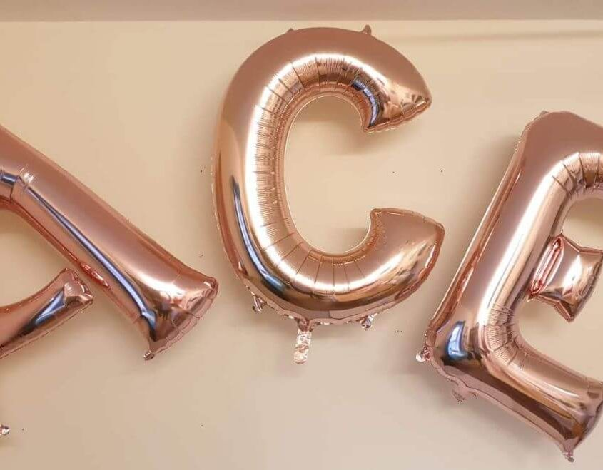 ACE rose gold letter helium balloons - tamworth