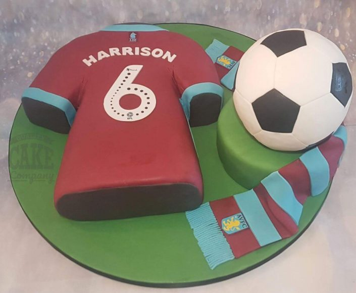 aston villa avfc football theme cake with shirt, football and scarf - tamworth west midlands