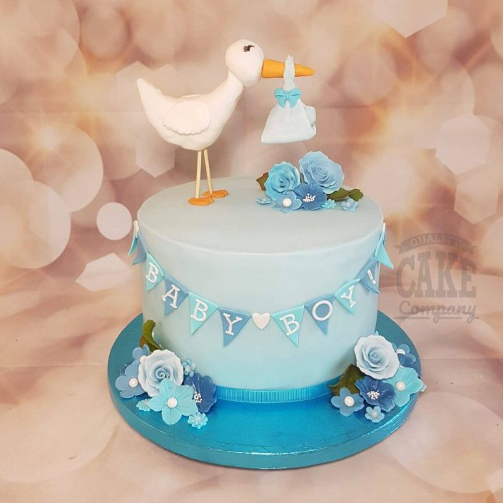 cute stork delivering baby shower cake - tamworth