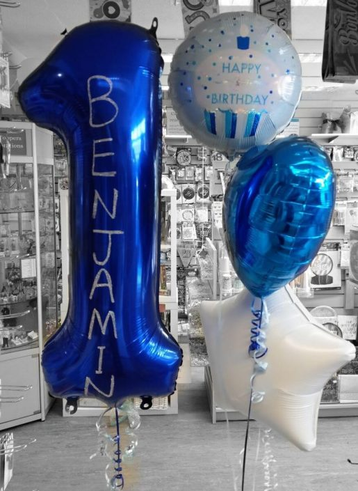 personalised first birthday balloons by Quality cake company tamworth