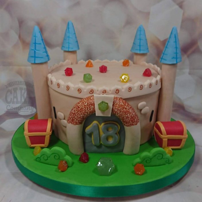 castle cake with treasure chest and gems - tamworth