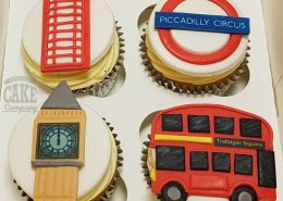 London city theme cupcakes bus, phone box, big ben