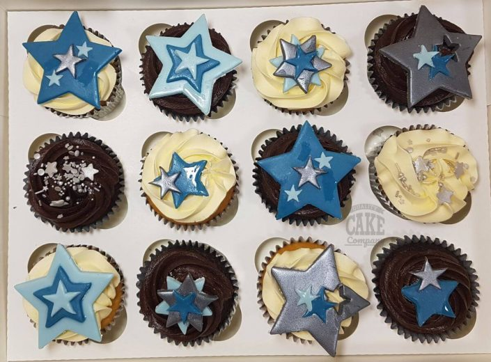 blue and silver simple star cupcakes - tamworth