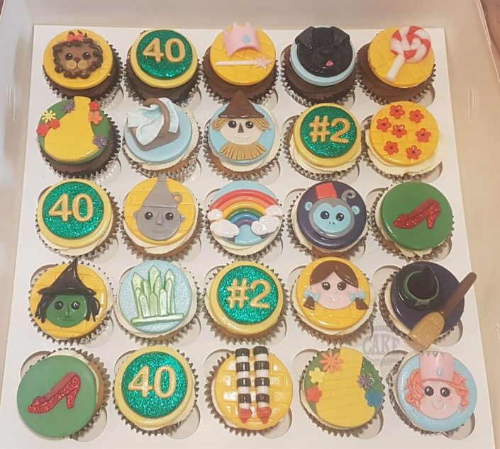 wizard of oz theme cupcakes - emerald city slipper etc - tamworth