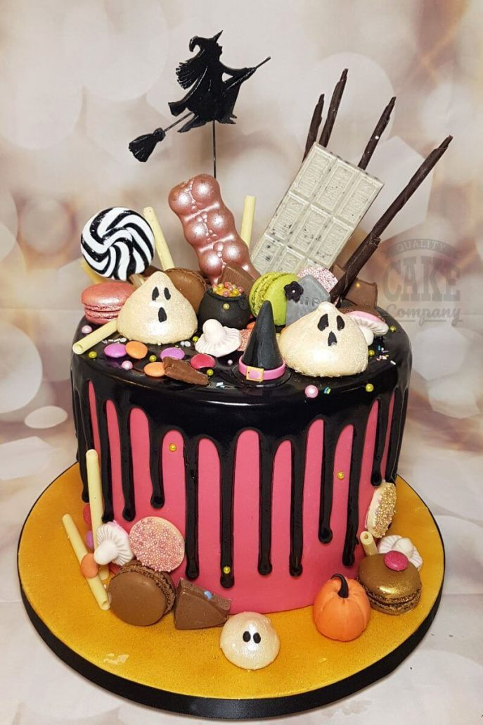 halloween drip cake with ghosts and witch cake topper - tamworth