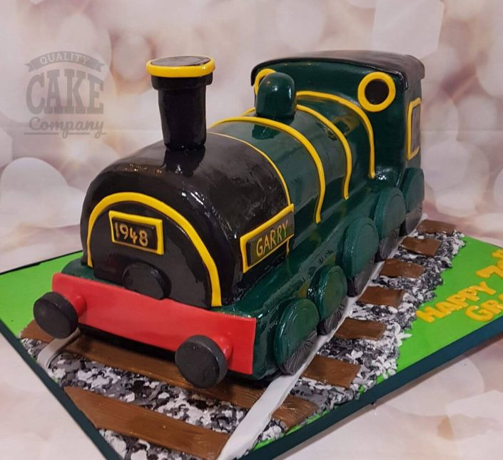 novelty classic green steam train cake - tamworth