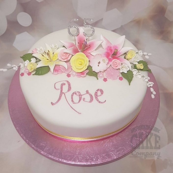 floral cake with lillies and roses - tamworth