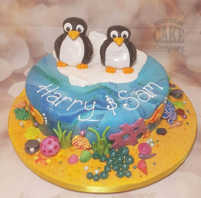 Penguins on iceberg children's birthday cake - tamworth