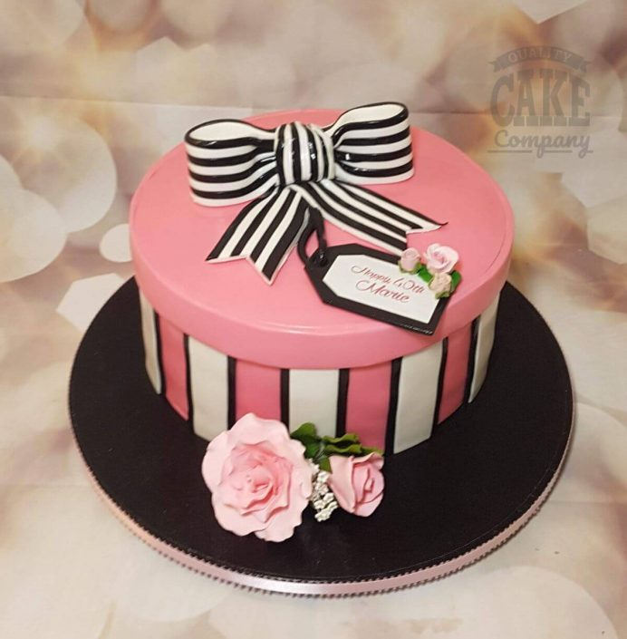 pink, black white hat box with stripey bow cake - tamworth
