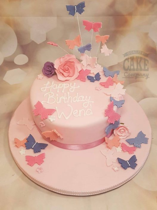pastel pink lilac butterfly cascade birthday cake - tamworth