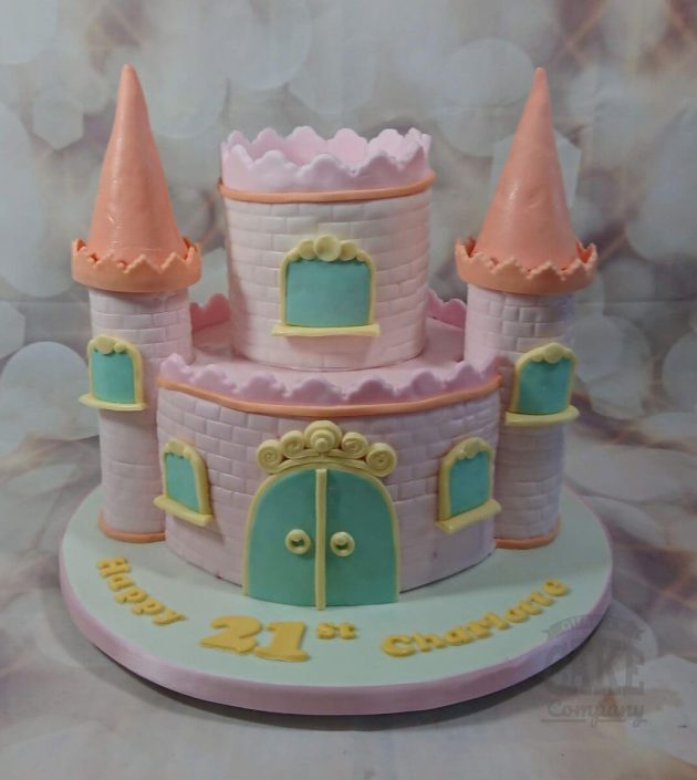 pink modern princess castle birthday cake - tamworth
