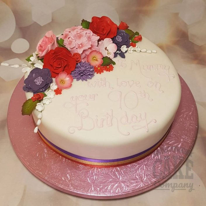 floral cake in pink red and purple - tamworth