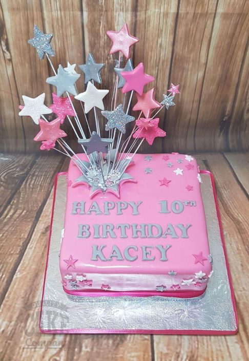 pink square star spray cake - tamworth