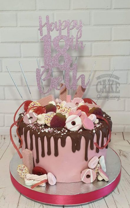 pink sweetie drip cake with personalised topper - tamworth