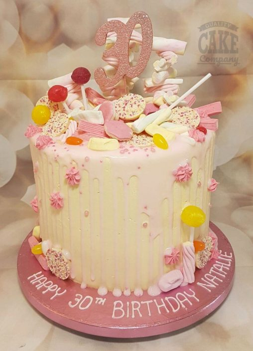 pale pink sweetie drip cake 30th birthday - tamworth