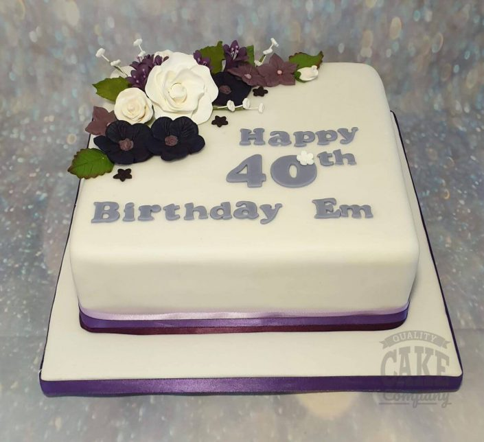 purple and white floral cake - tamworth
