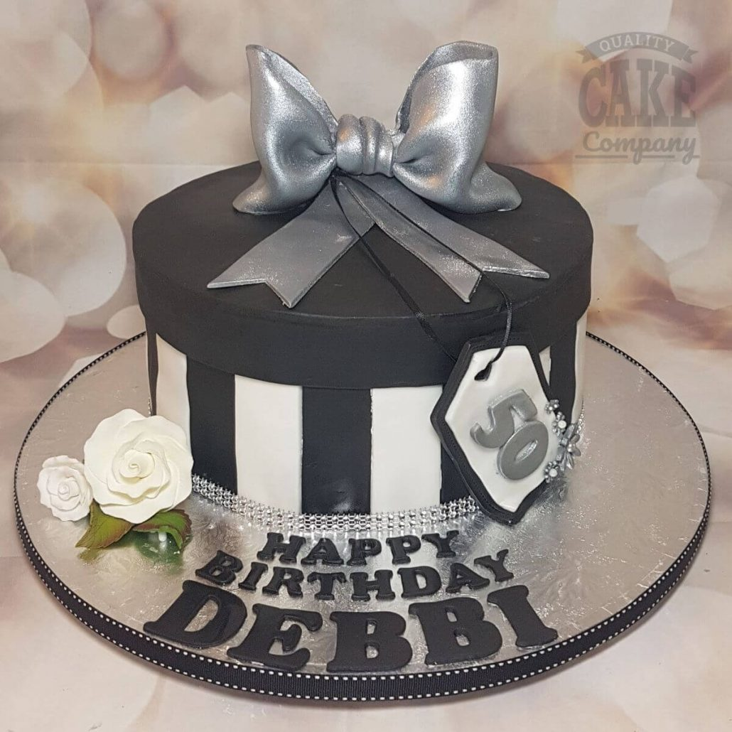 black and white hat box cake with silver icing bow - tamworth