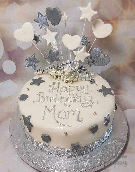 silver star and heart spray birthday cake - tamworth