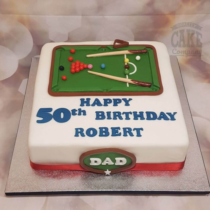 2D snooker theme birthday cake - tamworth