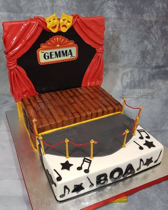theatre stage red curtains theme birthday cake - tamworth