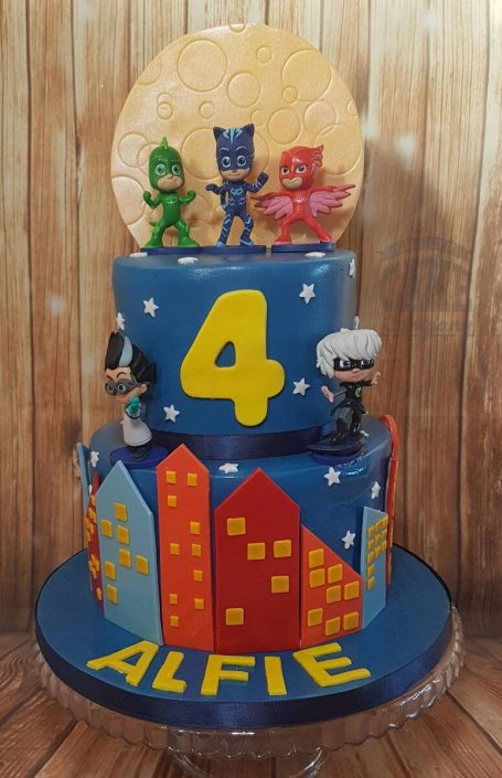 two tier PJ masks cake - tamworth