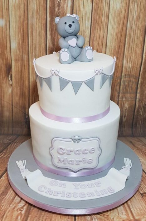 two tier grey soft pink bear bunting christening cake - tamworth