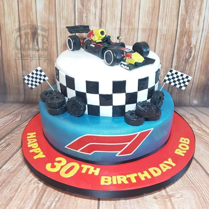 two tier formula 1 F1 red bull theme birthday cake - tamworth