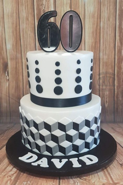 two tier black white geometric cake - tamworth