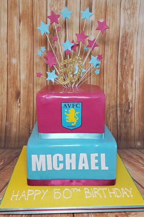 two tier square aston villa avfc football theme cake tamworth