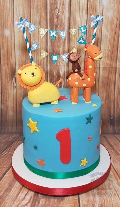 cute cartoon zoo animal lion giraffe monkey children's 1st birthday cake - tamworth