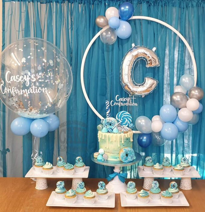 holy communion cake take and personalised balloons - tamworth