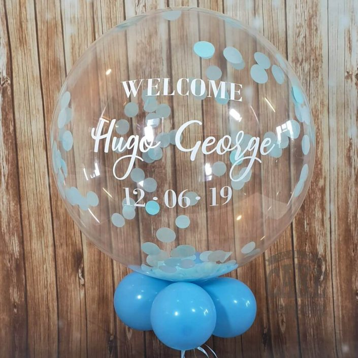 Personalised bubble balloon blue confetti - new baby - tamworth