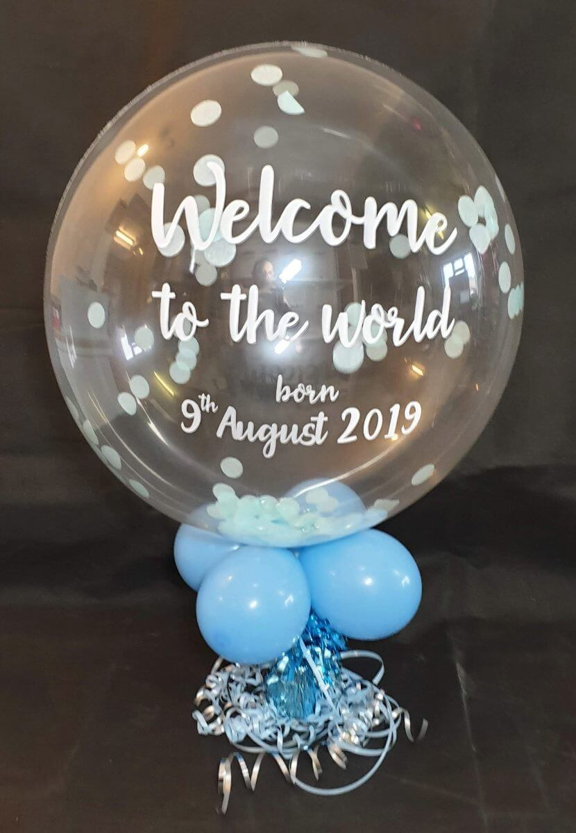 new baby blue confetti bubble balloon personalised - tamworth