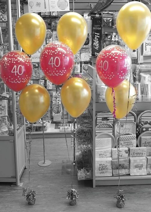 pink and gold latex balloon bunches for a 40th birthday - tamworth