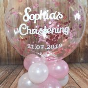 personalised bubble balloon with pink confetti table decoration for Christening - Tamworth